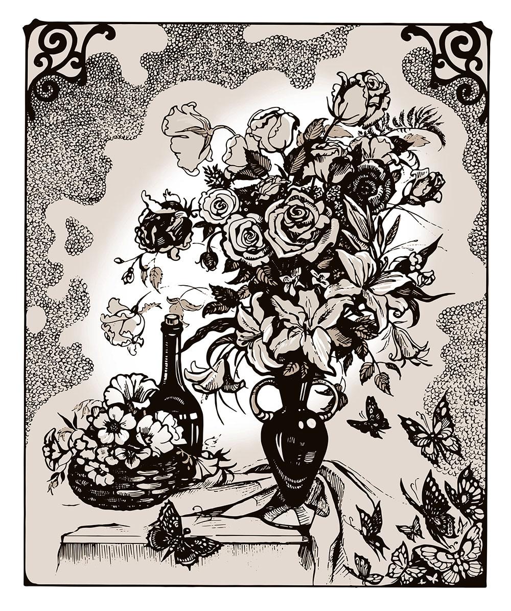 Открытки с графикой черно-белой