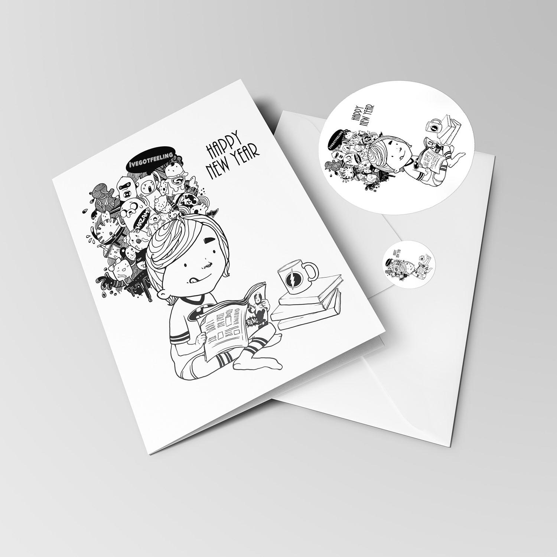 День, открытка с графикой