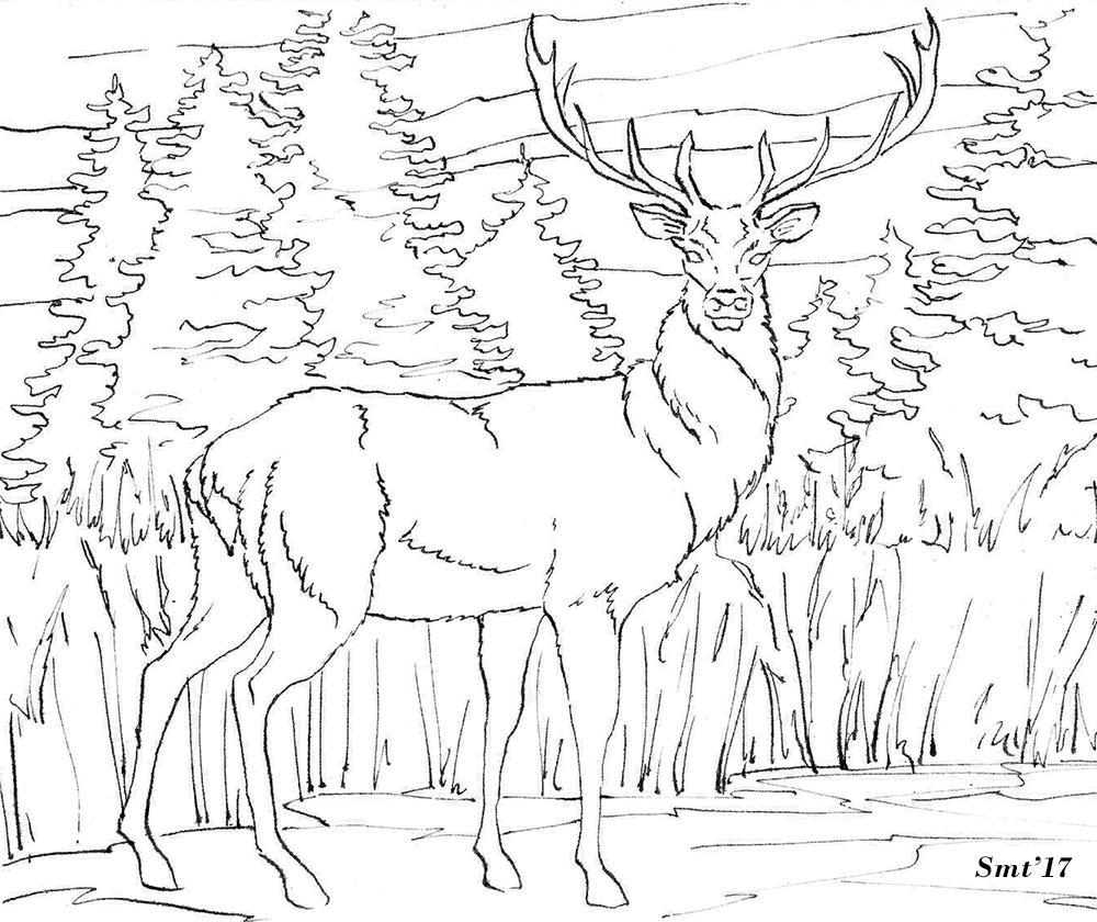 черно белые картинки благородного оленя ткань ретро-принтом виде