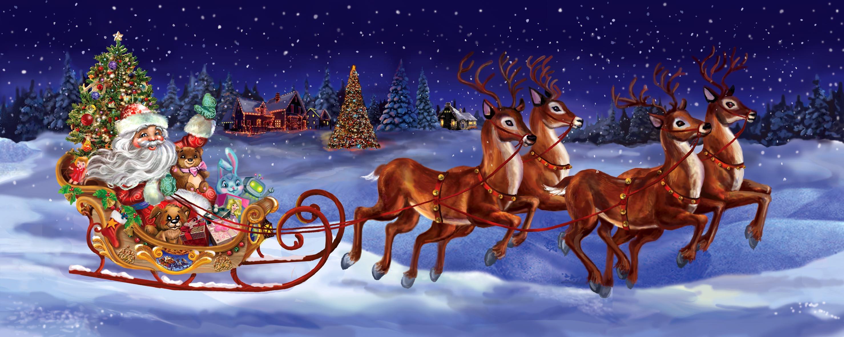 новогодние картинки с дедом морозом на санях и с елкой красивые идет линейка