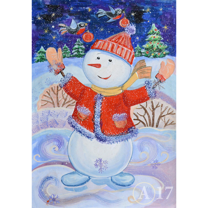Рисунок снеговиков гуашью