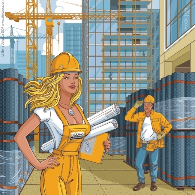 Строит дом женщина