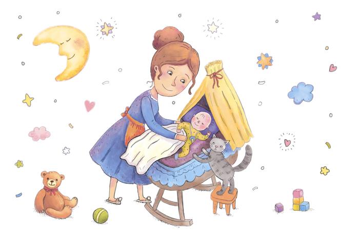 Мама качает малыша картинка для детей