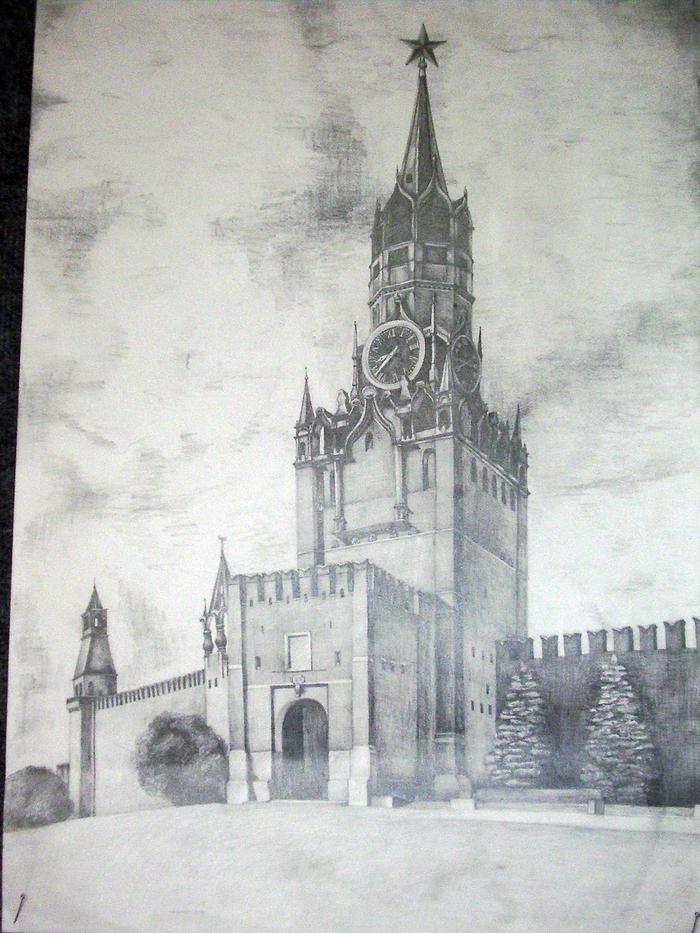 Спасская башня картинки нарисованные