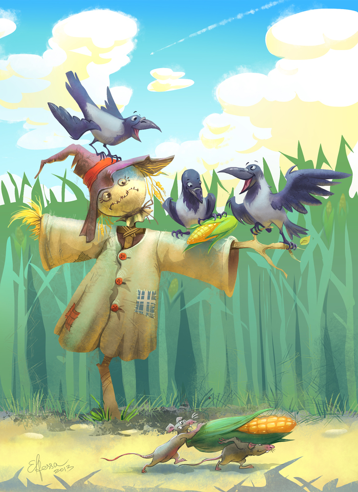картинки пугало и птицы