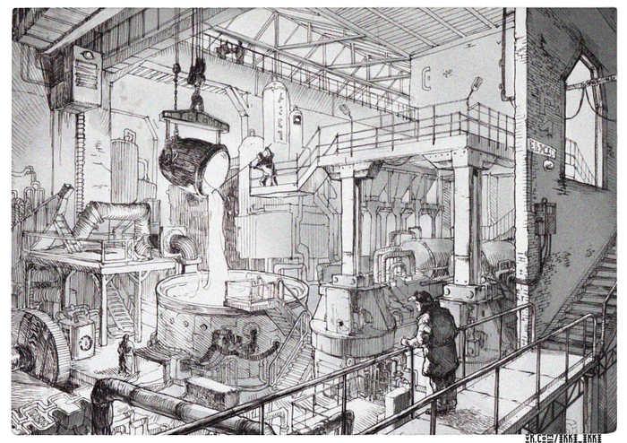 Завод карандашом картинки