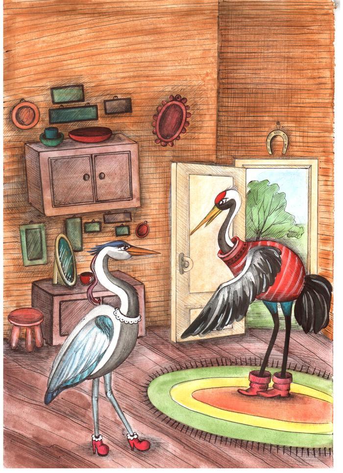 Картинки для детей журавль из сказки