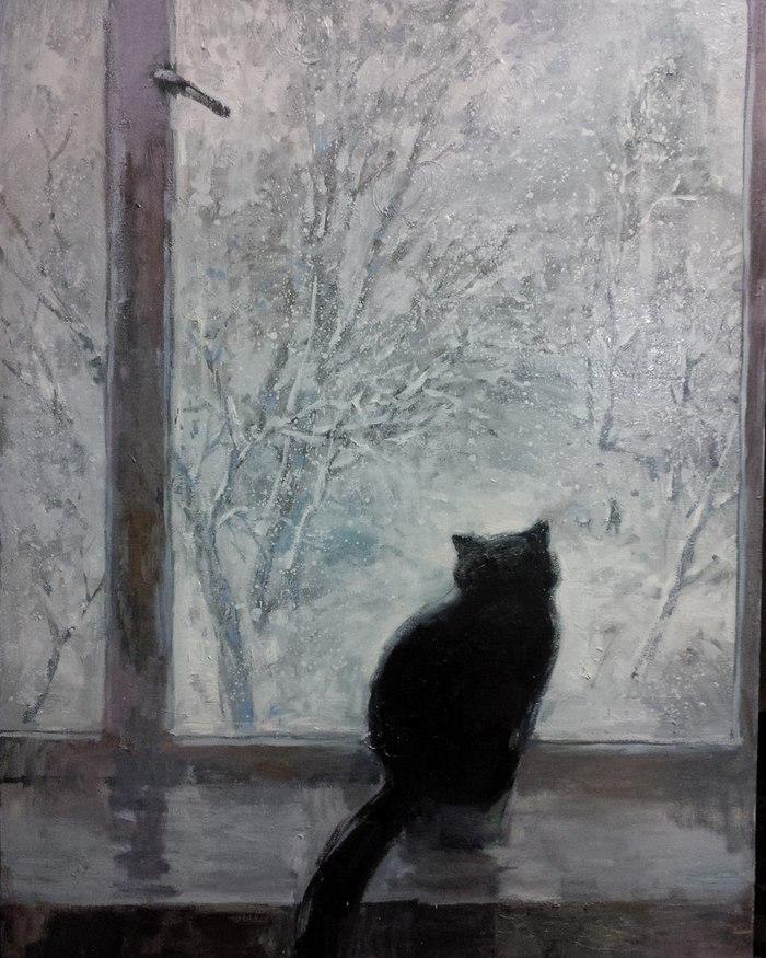 августе снег картина маслом за окном привет