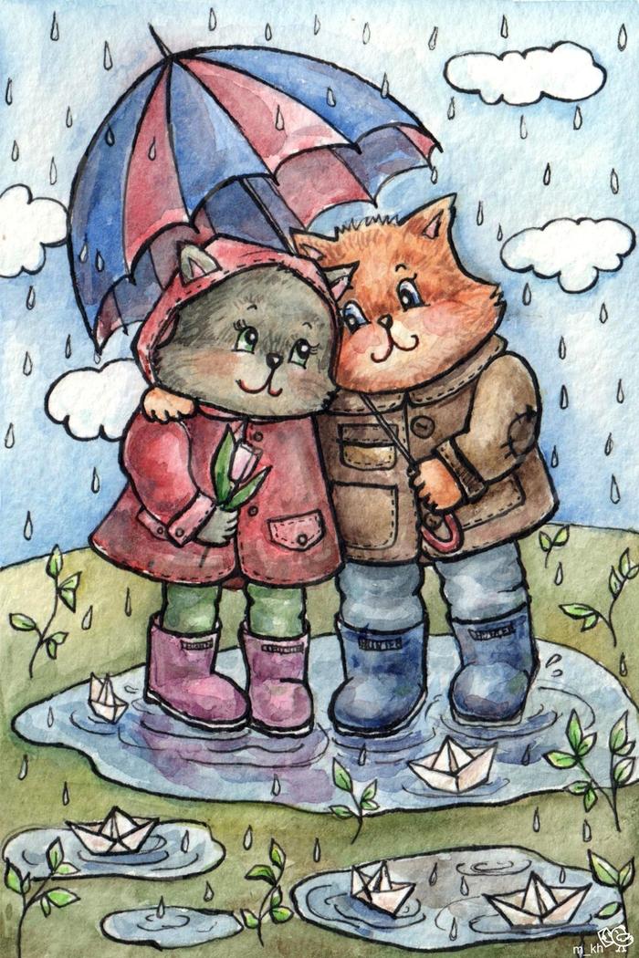 Картинки про дождик детские, открытки красивые
