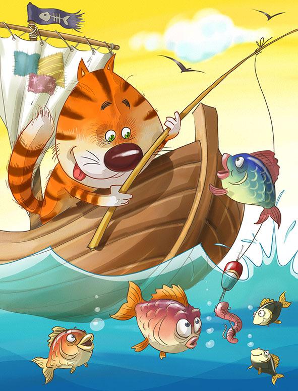 кот и рыбалка картинки для изготовления парогенератора лежаков
