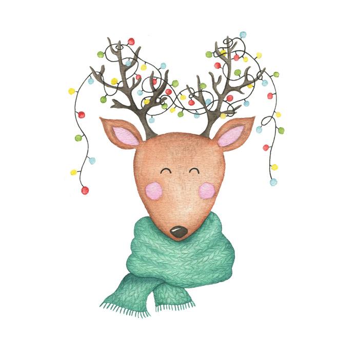 Для, новогодние акварельные открытки олень