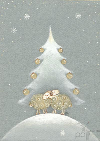 Новогодняя открытка год овцы своими руками
