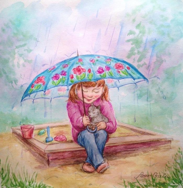 Девочка под зонтиком открытка, николаю просто так