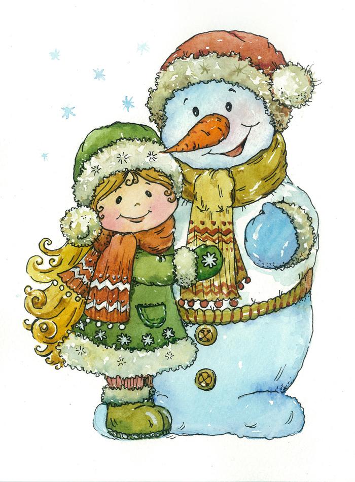 Снеговики открытки новогодние, шреком