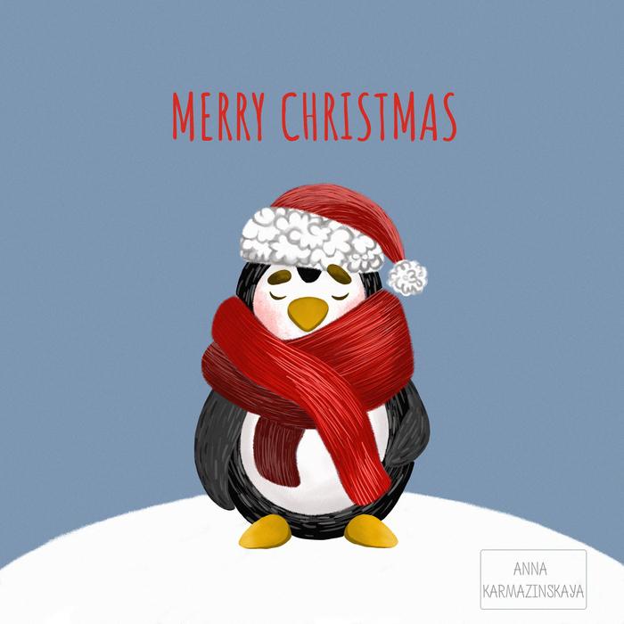 Картинках забавно, новогодняя открытка с пингвином