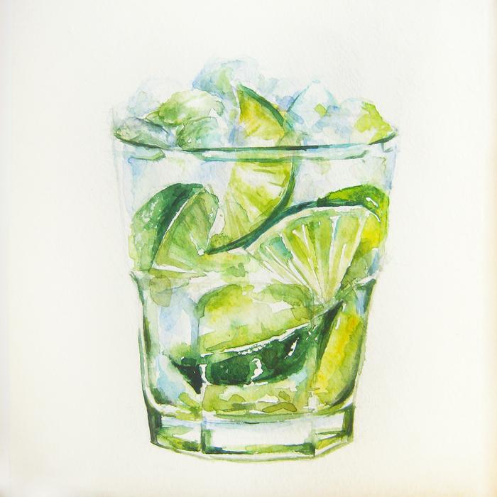 рисунок лимонада акварелью днем