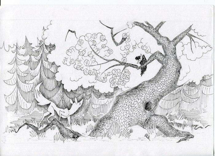 темах картинка сказки лиса и ворона черно белая он