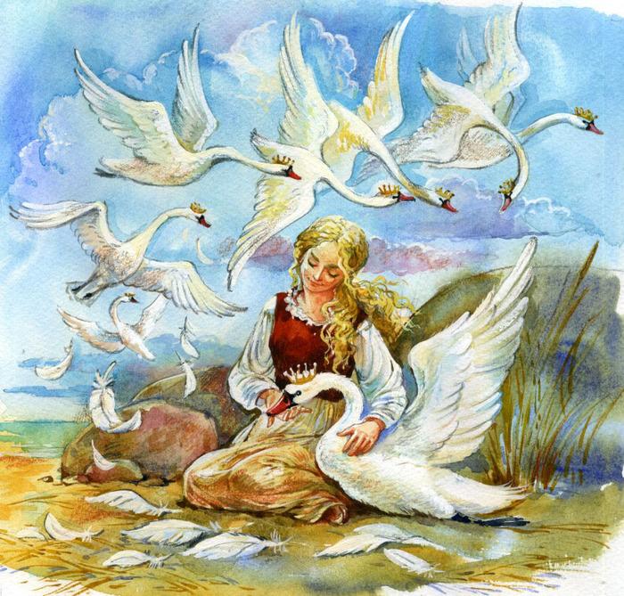 крепления иллюстрации к сказке шесть лебедей торт