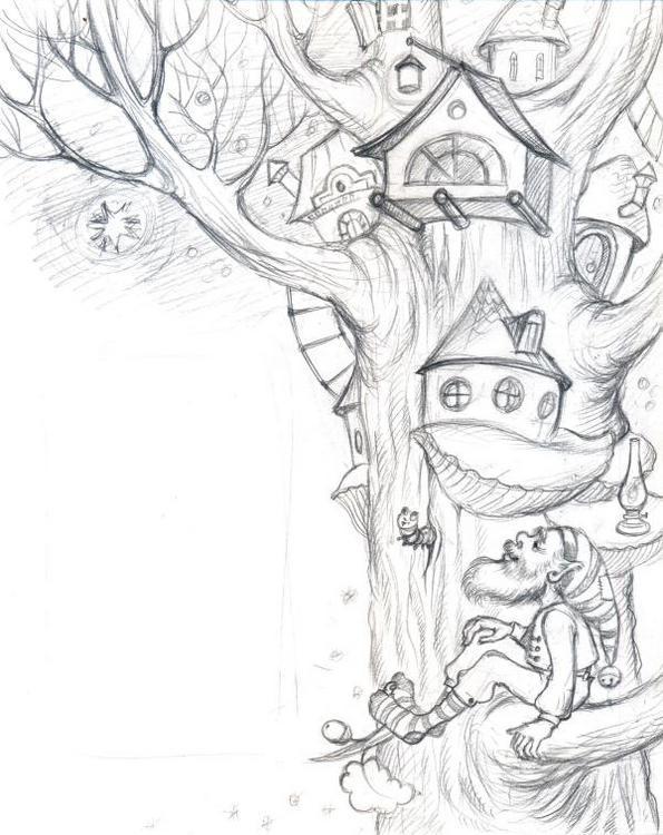 фантастический лес рисунок карандашом нож все