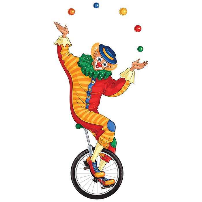 Жонглирующий клоун на колесе картинка