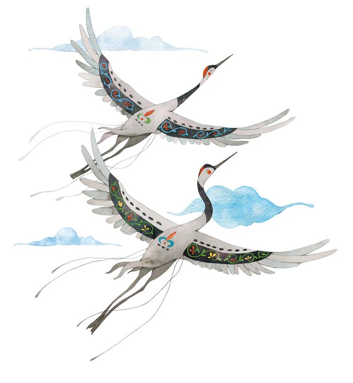 рисунок летящих журавлей картинки идея