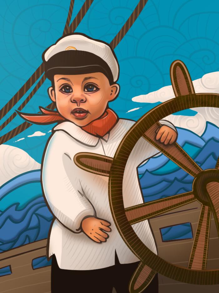Моряк за штурвалом картинки