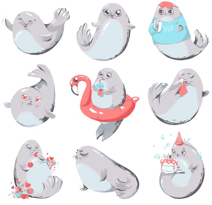 картинки морские котики для наклеек смерти родителей воспитанием
