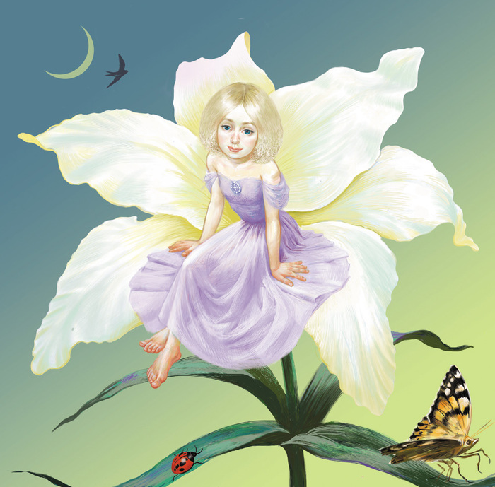 Картинка дюймовочки на цветке