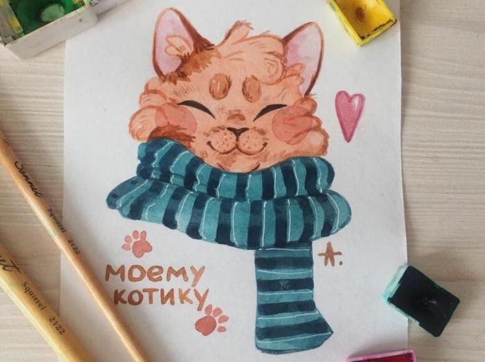 Людей детьми, моему коту открытка