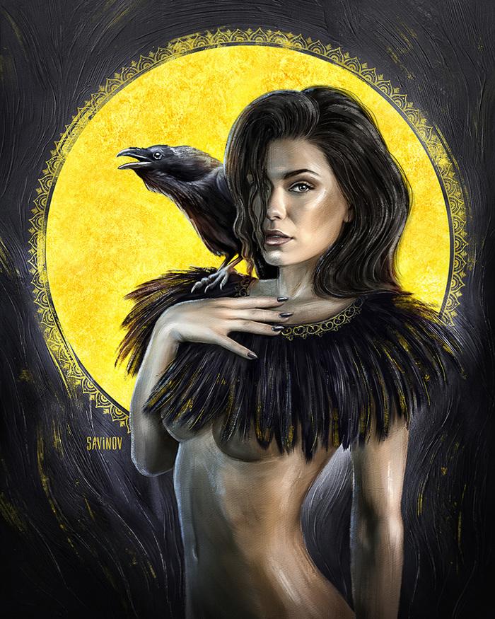Девушка и ворон картинка