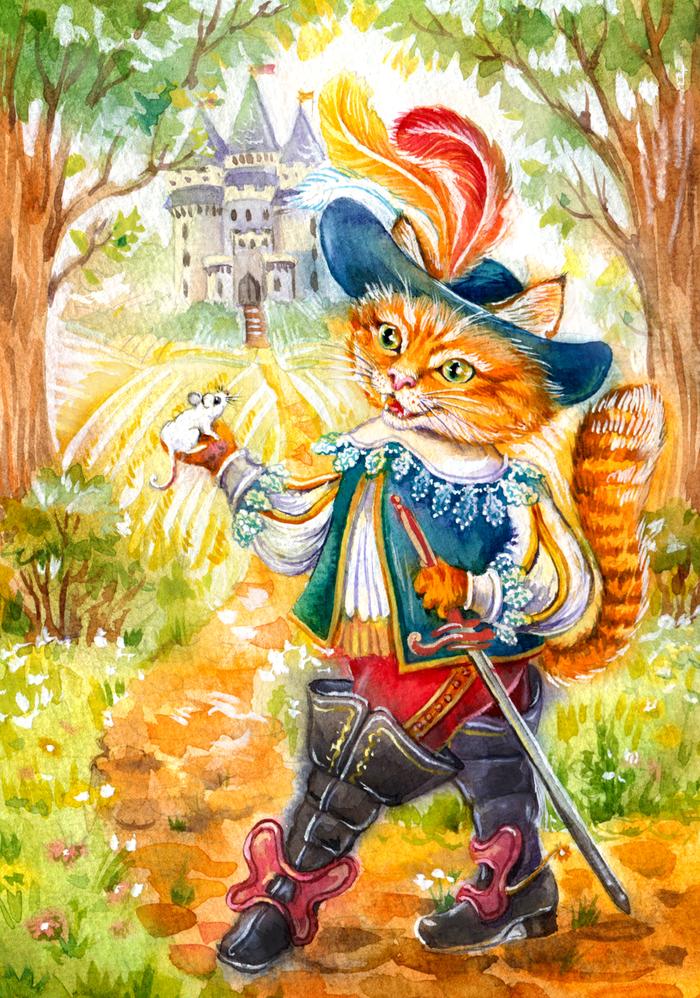 Кот в сапогах картинки из сказки шарля