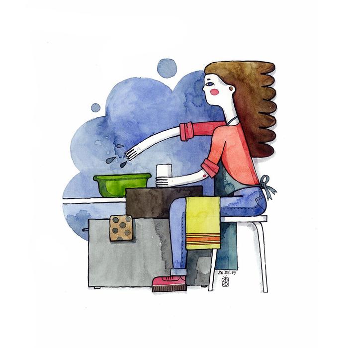 Девушка за работой рисунок александр сляднев