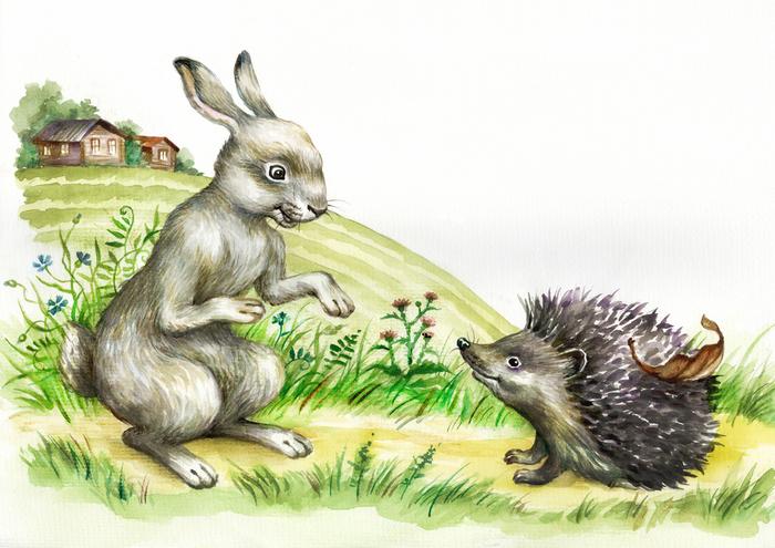 Картинки заяц ежик