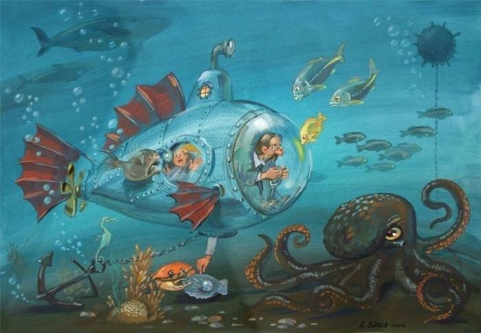 подводная лодка рисование с детьми