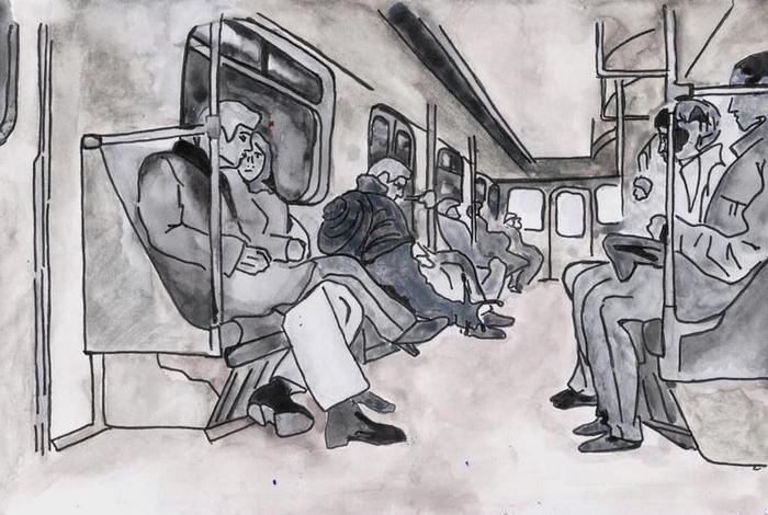 картинки человечки в метро моря есть
