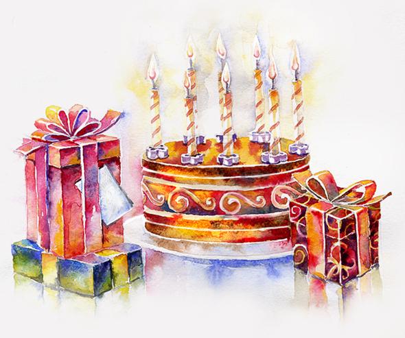 Открытка акварелью на день рождения