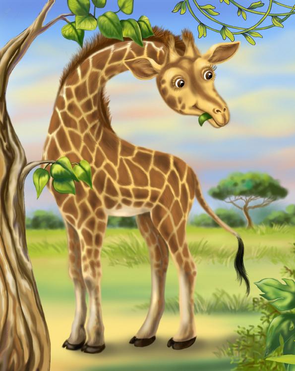 Жираф в картинках для детей, красивые открытки днем