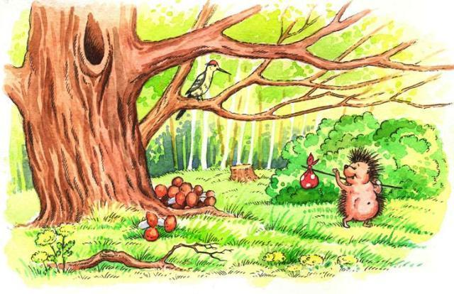Ежик под деревом картинка