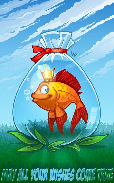 Открытка рыбы, для рабочих текст
