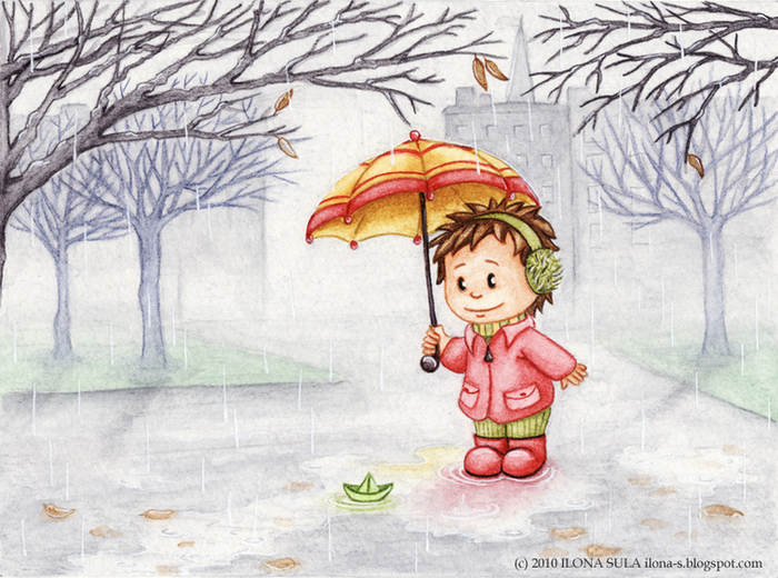 Дождливая погода нарисованная