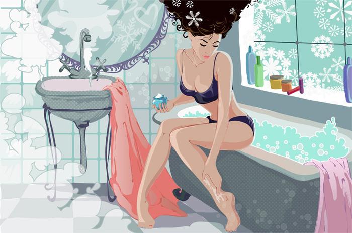 Открытки в ванной с девушкой