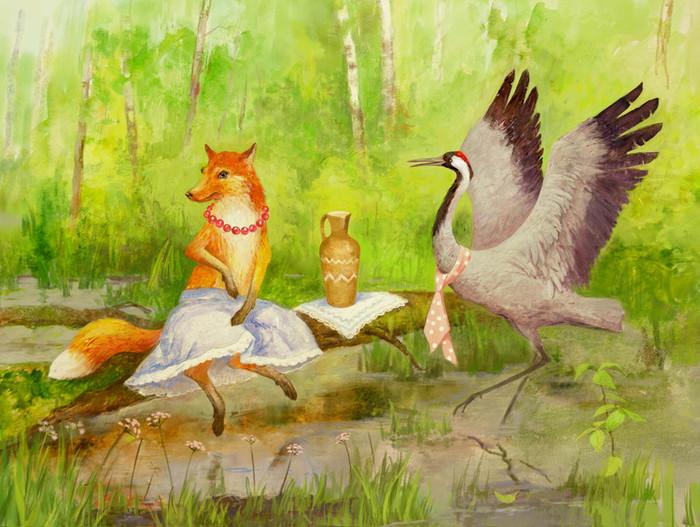 красивый лисиця журавель картинки вам рассказываем простые
