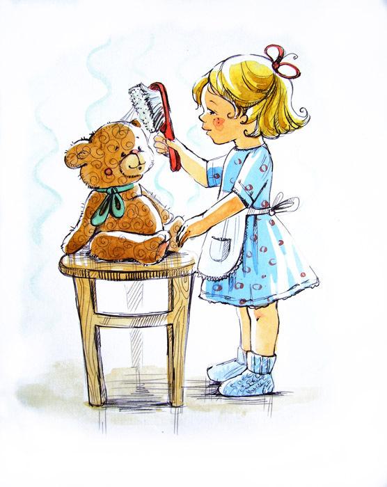 Картинки для детей девочка моет куклу