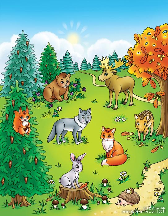 Лес с животными картинки для детей