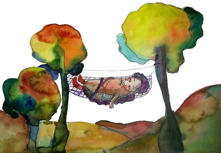 Сообщество иллюстраторов   Иллюстрация Ежик в осеннем лесу.