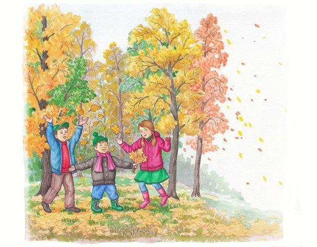 Картинки осень дети собирают листья, про дагестанцев