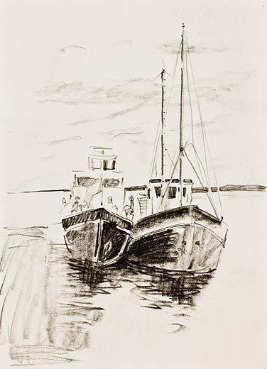 нарисовать лодку на озере