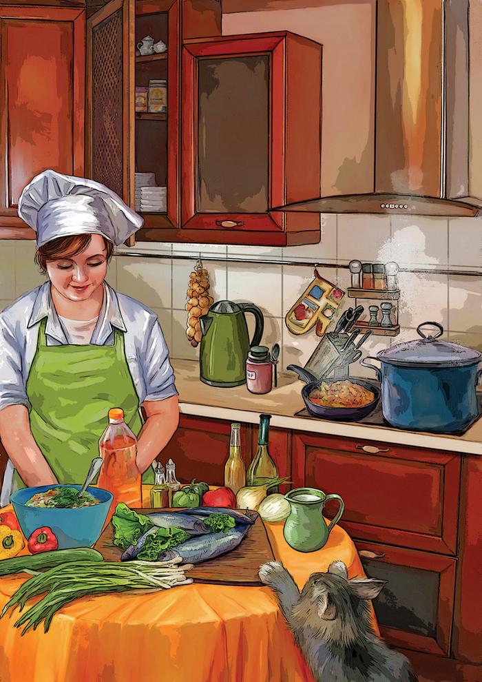 Мама на кухне картинки для детей