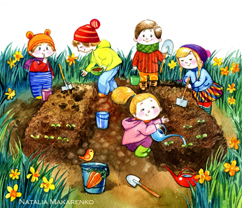 Труд детей на огороде в картинках