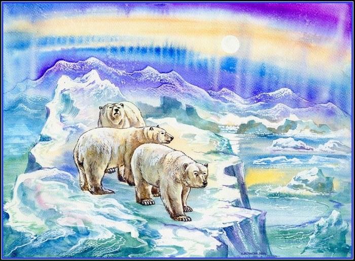 белых медведей нарисовать видео